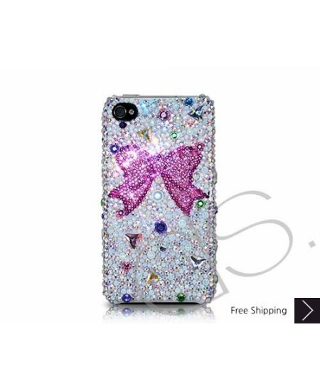 Ribbon Scatter Swarovski Crystal Phone Case - Pink