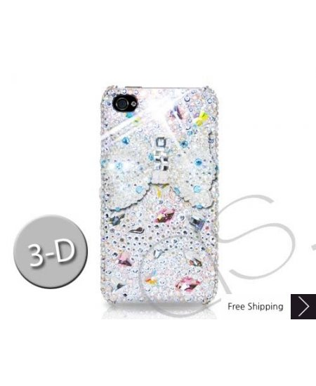Meso-Ribbon 3D Swarovski Crystal Phone Case - White