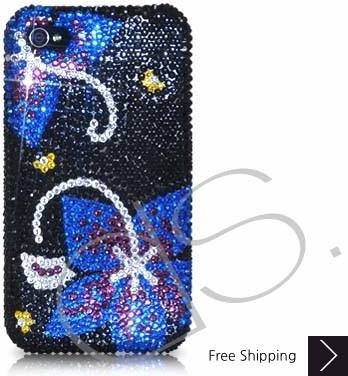 対称スワロフ スキー クリスタル電話ケース - ブラック ブルー