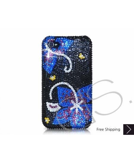 Symmetry Swarovski Crystal Phone Case - Black Blue