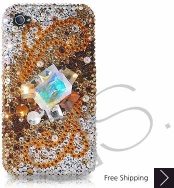 Cubical Wings Swarovski Crystal Phone Case - Gold