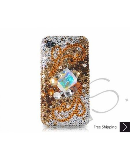 Cubical Wings Swarovski Crystal Phone Case - Gold