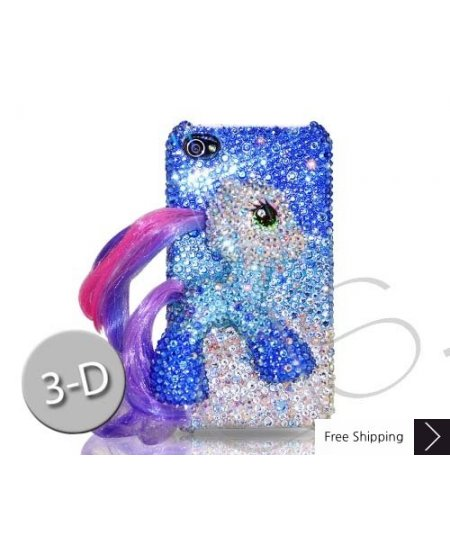 Horse 3D Swarovski Crystal Phone Case - Blue