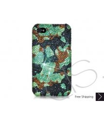 Camouflage Swarovski Crystal Phone Case - Green