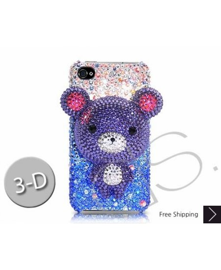 Gradation Bear 3D Swarovski Crystal Phone Case - Blue