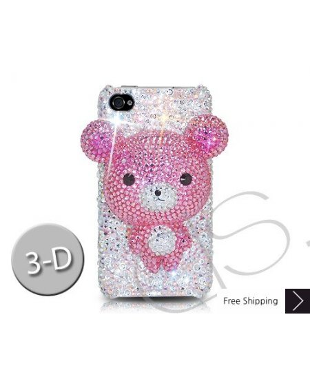 Bear 3D Crystallized Swarovski iPhone 4 Case - Pink