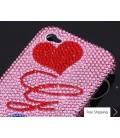 秋の愛パーソナライズ見せびらかすスワロフ スキー クリスタル電話ケース - ピンク