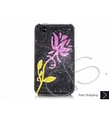 花キラキラのスワロフ スキー クリスタル電話ケース