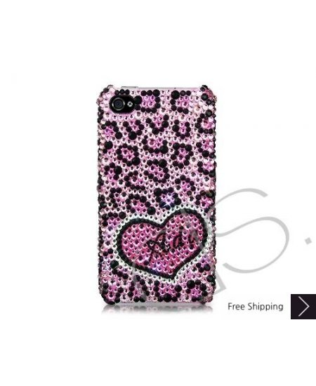Love Leopard Personalized Bling Swarovski Crystal Phone Cases