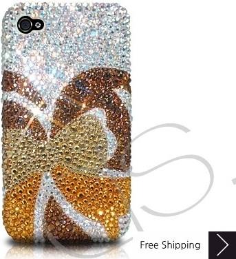 蝶のキラキラのスワロフ スキー クリスタル電話ケース - ゴールド
