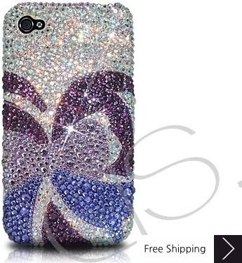蝶スワロフ スキー クリスタル電話ケース - 紫