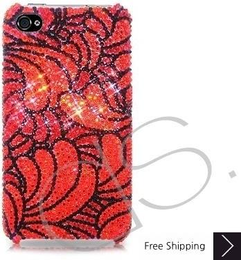 バラの花びらキラキラのスワロフ スキー クリスタル電話ケース