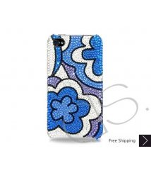 Blue Floral Bling Swarovski Crystal iPhone 12 Case iPhone 12 Pro and iPhone 12 Pro MAX Case