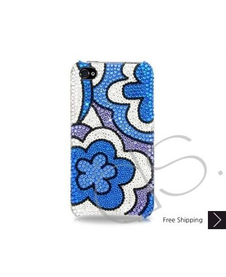 Blue Floral Bling Swarovski Crystal Phone Cases