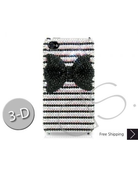 Stripe Bow 3D Bling Swarovski Crystal Phone Cases