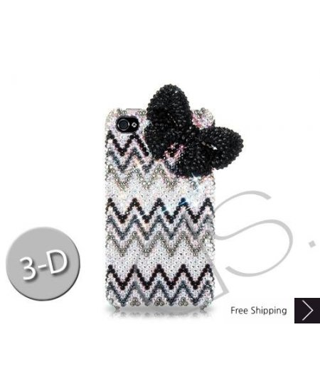Ribbon Wave 3D Bling Swarovski Crystal Phone Cases - Black