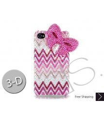 Ribbon Wave 3D Bling Swarovski Crystal Phone Cases - Pink