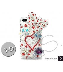 Bow Heart 3D Bling Swarovski Crystal Phone Cases - White