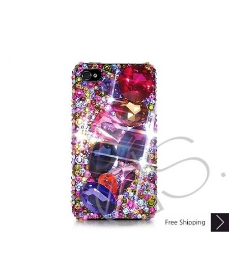 Colorato 3D Bling Swarovski Crystal Phone Case - Blue