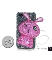 Rabbit 3D Bling Swarovski Crystal iPhone 12 Case iPhone 12 Pro and iPhone 12 Pro MAX Case - Black