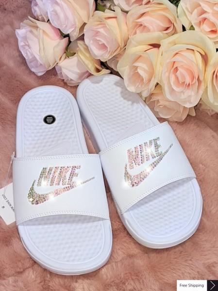 Bling Swarovski Nike Slide Sandals - white
