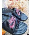Bling Swarovski Nike Slide Sandals - Black