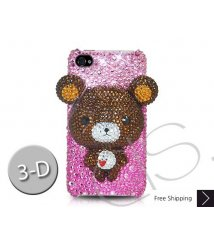 Bear 3D Crystallized Swarovski iPhone 4 Case - Brown