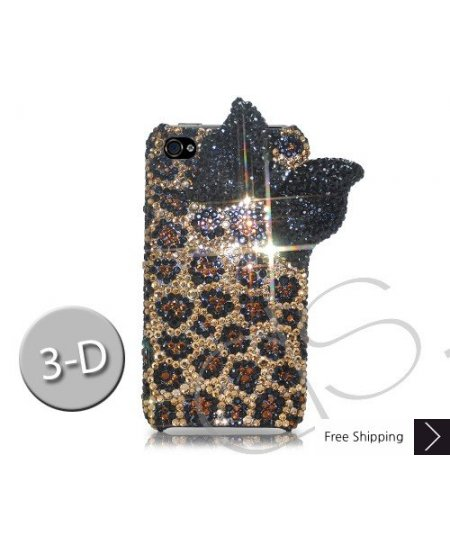 Black Ribbon 3D Crystallized Swarovski iPhone 4 Case - Leopardo