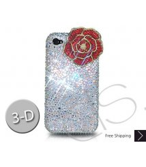 Rose 3D Bling Swarovski Crystal iPhone 8 and iPhone 8 Plus Case - White