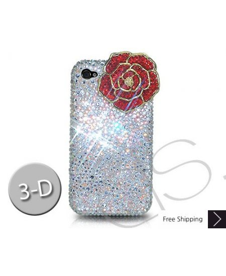 Rose 3D Crystallized Swarovski iPhone 4 Case - White