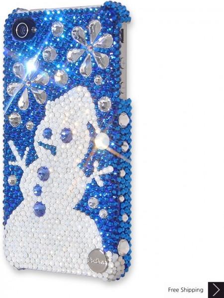 スノーフレーク雪だるまクリスタル電話ケース