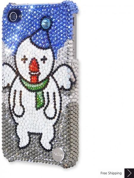 クリスマス天使の雪だるまクリスタル電話ケース